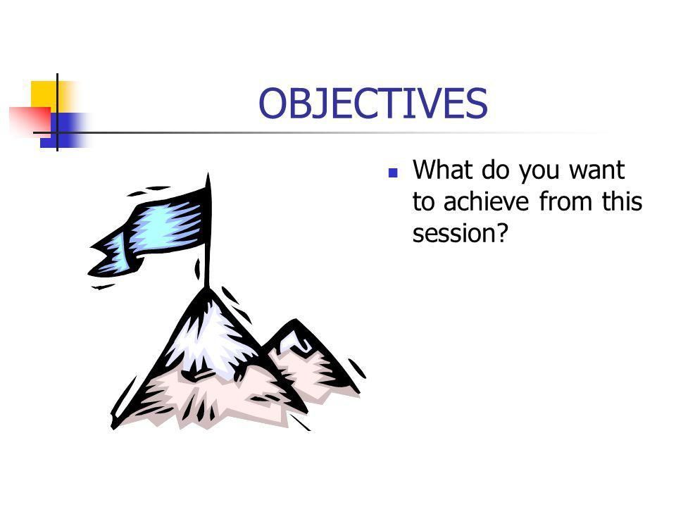 OBJECTIVES What do you want to achieve from this session?