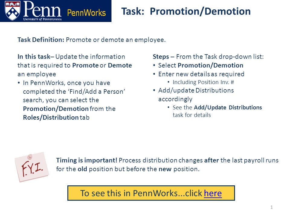Task: Promotion/Demotion To see this in PennWorks...click herehere Task Definition: Promote or demote an employee.