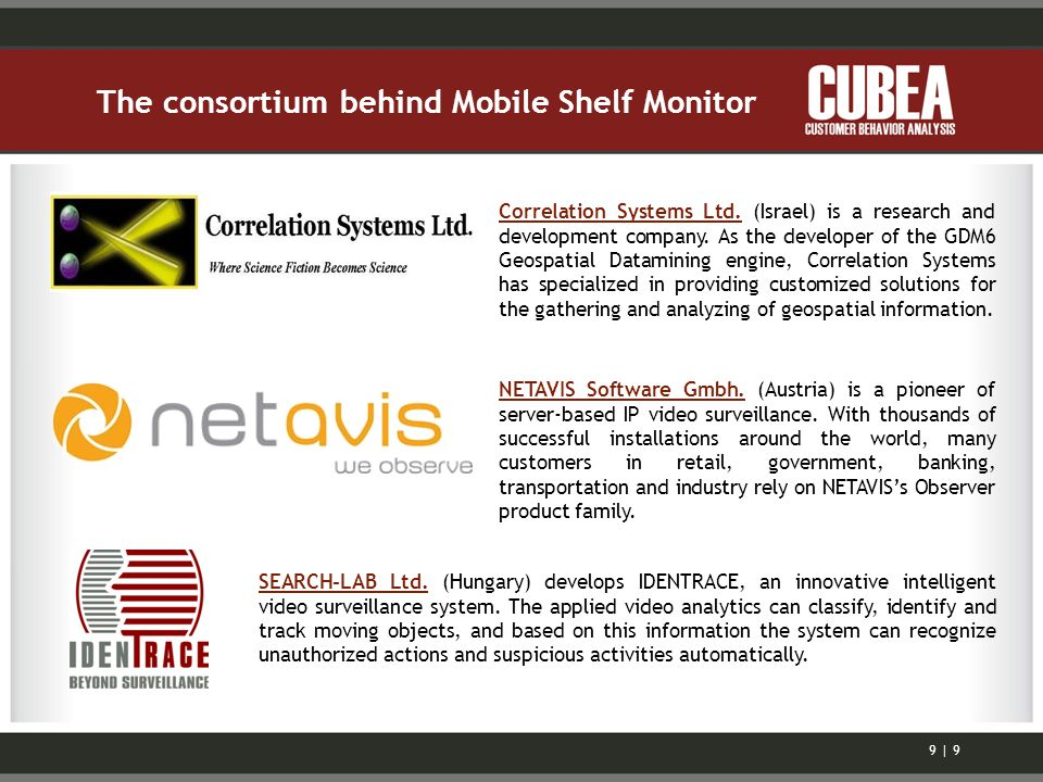 The consortium behind Mobile Shelf Monitor NETAVIS Software Gmbh.NETAVIS Software Gmbh. (Austria) is a pioneer of server-based IP video surveillance.