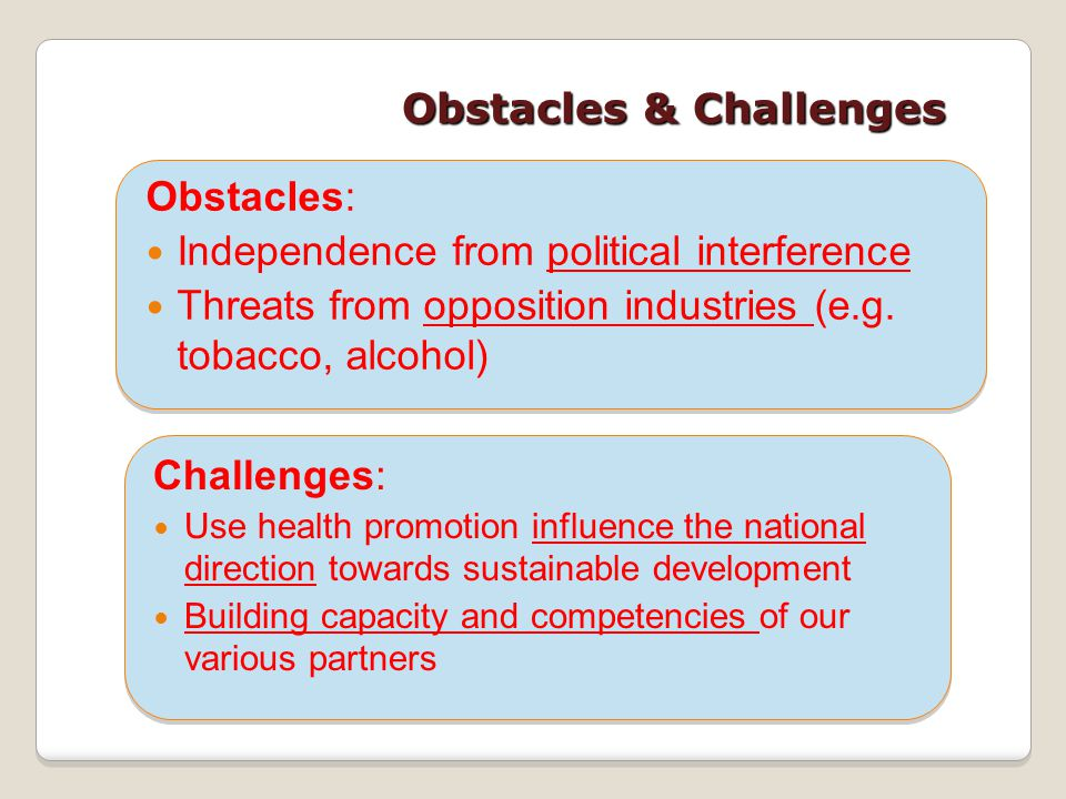 Obstacles & Challenges Obstacles: Independence from political interference Threats from opposition industries (e.g. tobacco, alcohol) Challenges: Use