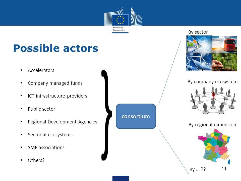 Possible actors 11 consortium Accelerators Company managed funds ICT infrastructure providers Public sector Regional Development Agencies Sectorial ec