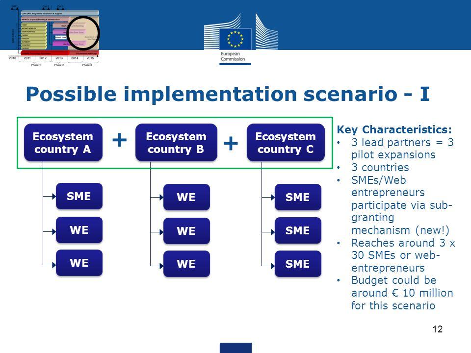 Possible implementation scenario - I 12 Ecosystem country A Ecosystem country B Ecosystem country C SME WE SME + + Key Characteristics: 3 lead partner