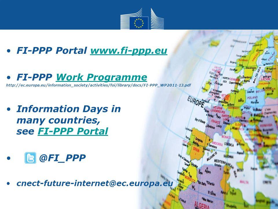 FI-PPP Portal www.fi-ppp.euwww.fi-ppp.eu FI-PPP Work ProgrammeWork Programme http://ec.europa.eu/information_society/activities/foi/library/docs/FI-PP