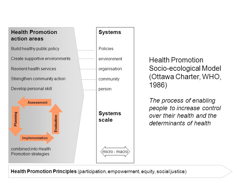 Health Promotion action areas Build healthy public policy Create supportive environments Reorient health services Strengthen community action Develop