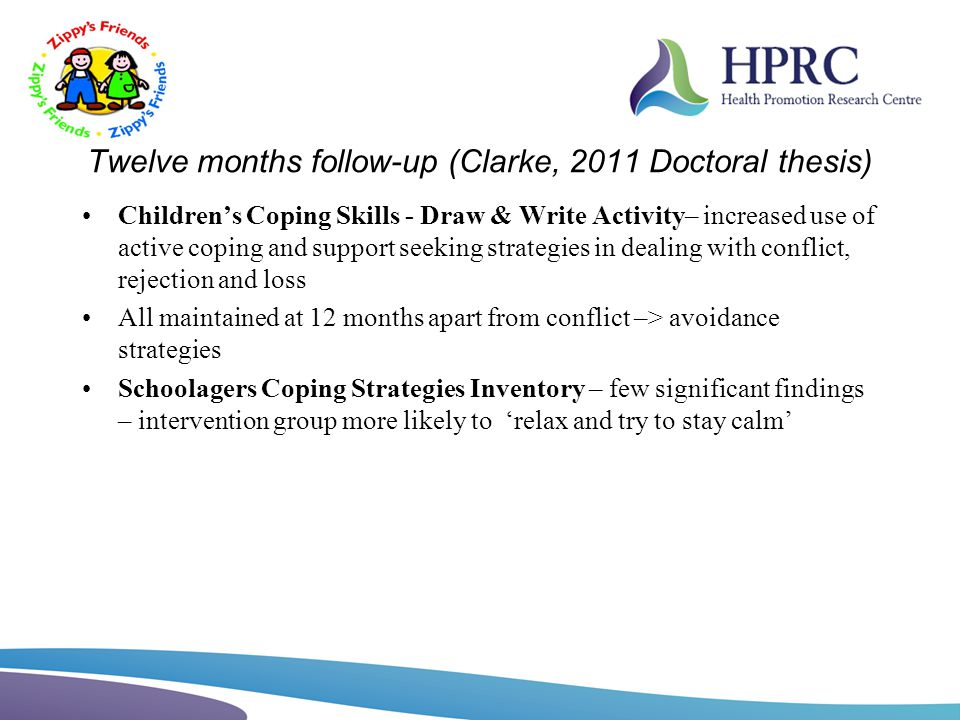 Twelve months follow-up (Clarke, 2011 Doctoral thesis) Childrens Coping Skills - Draw & Write Activity– increased use of active coping and support see