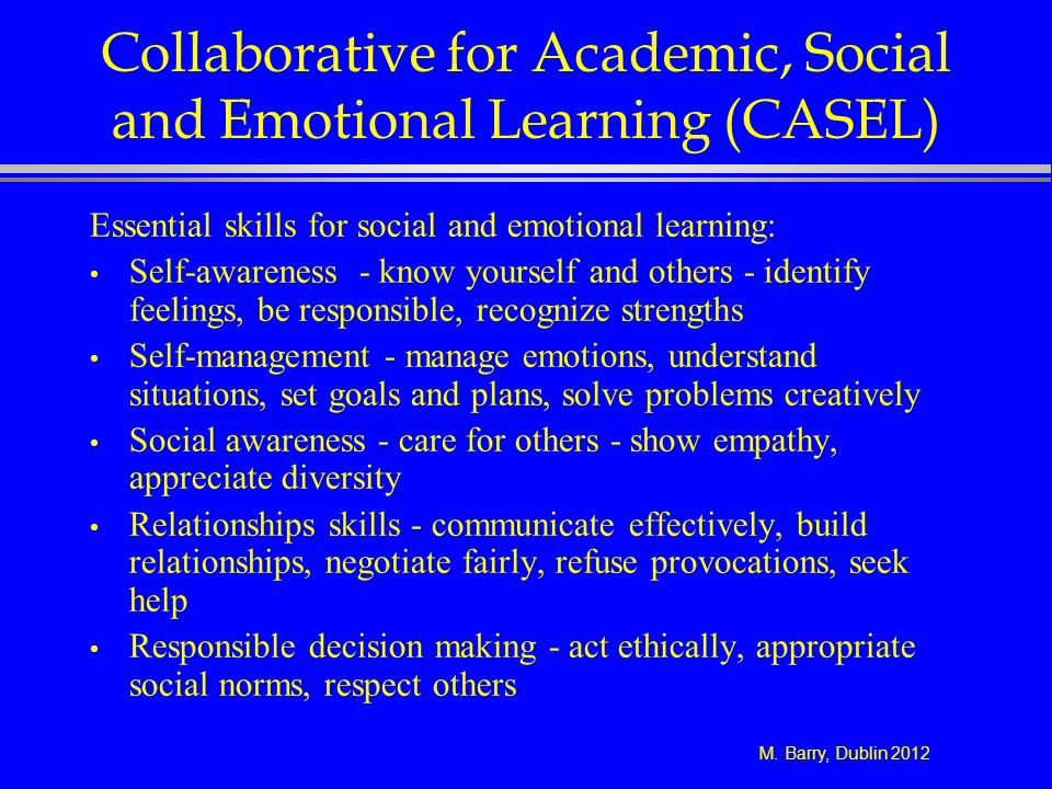M. Barry, Dublin 2012 Collaborative for Academic, Social and Emotional Learning (CASEL) Essential skills for social and emotional learning: Self-aware