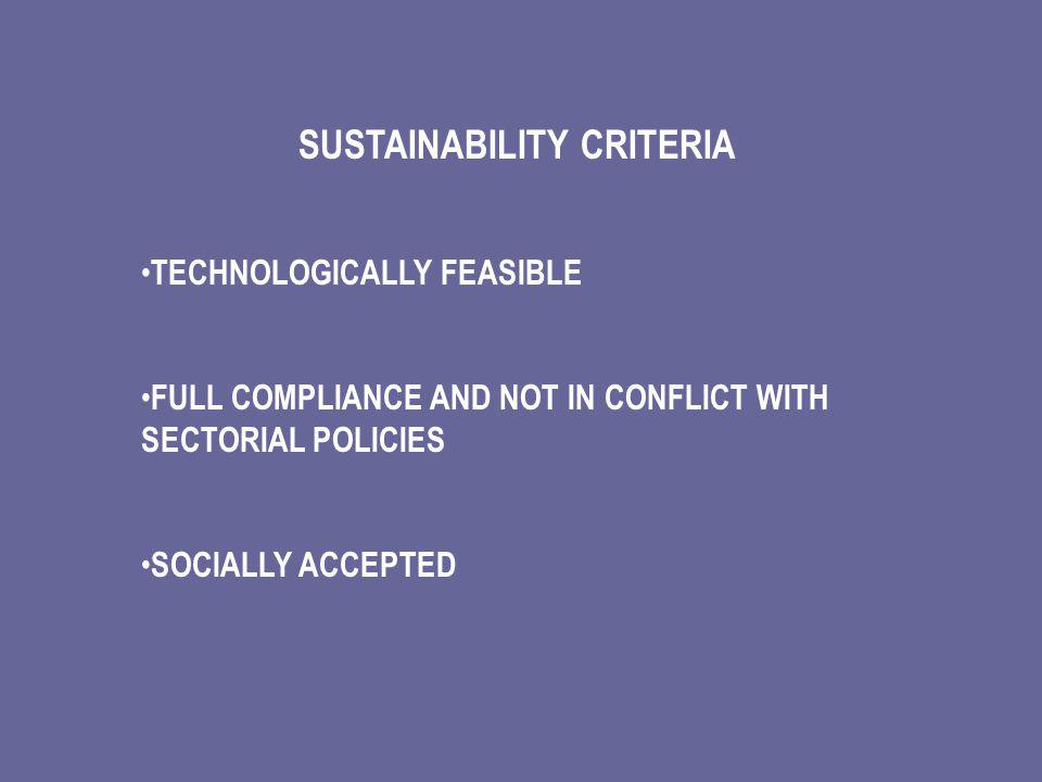 SUSTAINABILITY CRITERIA TECHNOLOGICALLY FEASIBLE FULL COMPLIANCE AND NOT IN CONFLICT WITH SECTORIAL POLICIES SOCIALLY ACCEPTED