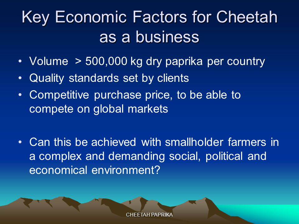 CHEETAH PAPRIKA Key Economic Factors for Cheetah as a business Volume > 500,000 kg dry paprika per country Quality standards set by clients Competitive purchase price, to be able to compete on global markets Can this be achieved with smallholder farmers in a complex and demanding social, political and economical environment