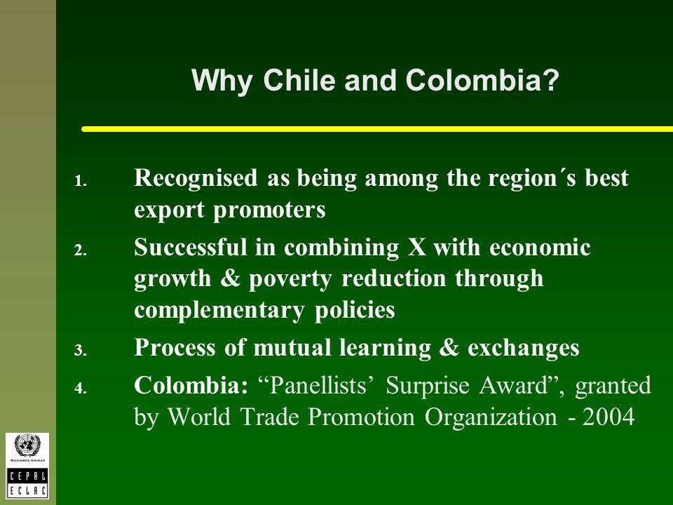 Why Chile and Colombia? 1. Recognised as being among the region´s best export promoters 2. Successful in combining X with economic growth & poverty re