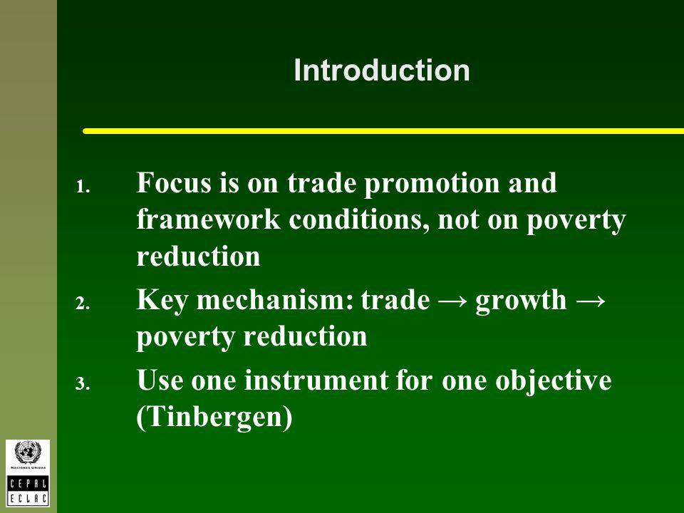 Introduction 1. Focus is on trade promotion and framework conditions, not on poverty reduction 2.