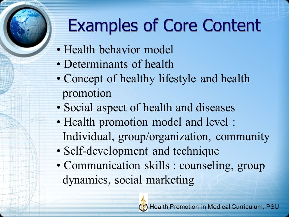 Examples of Core Content Health behavior model Determinants of health Concept of healthy lifestyle and health promotion Social aspect of health and di