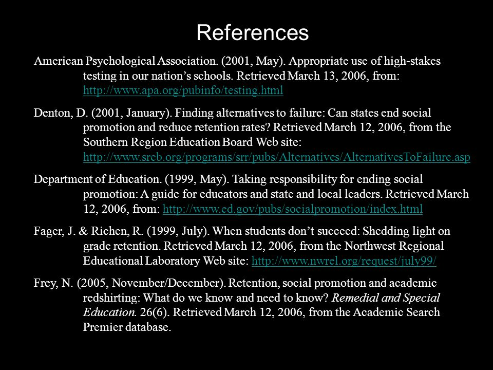 References American Psychological Association. (2001, May).