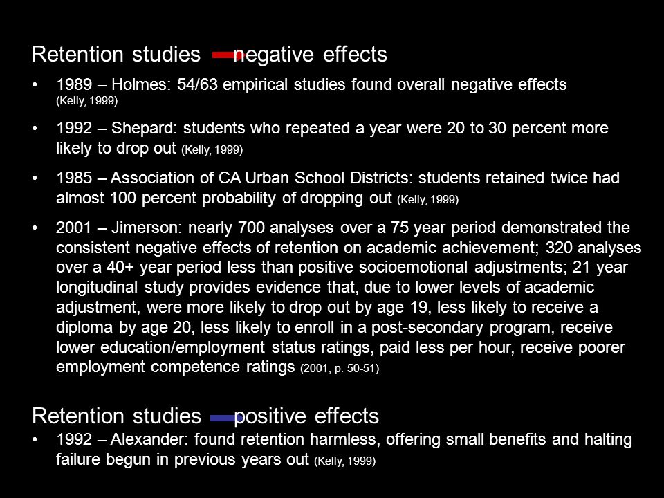 1989 – Holmes: 54/63 empirical studies found overall negative effects (Kelly, 1999) 1992 – Shepard: students who repeated a year were 20 to 30 percent more likely to drop out (Kelly, 1999) 1985 – Association of CA Urban School Districts: students retained twice had almost 100 percent probability of dropping out (Kelly, 1999) 2001 – Jimerson: nearly 700 analyses over a 75 year period demonstrated the consistent negative effects of retention on academic achievement; 320 analyses over a 40+ year period less than positive socioemotional adjustments; 21 year longitudinal study provides evidence that, due to lower levels of academic adjustment, were more likely to drop out by age 19, less likely to receive a diploma by age 20, less likely to enroll in a post-secondary program, receive lower education/employment status ratings, paid less per hour, receive poorer employment competence ratings (2001, p.