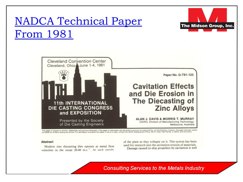 Consulting Services to the Metals Industry NADCA Technical Paper From 1981