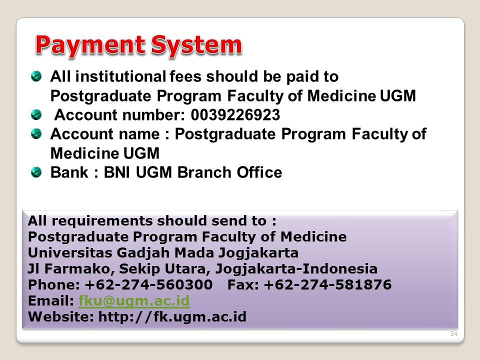 54 All institutional fees should be paid to Postgraduate Program Faculty of Medicine UGM Account number: 0039226923 Account name : Postgraduate Progra
