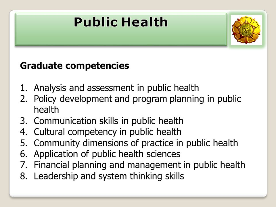 Graduate competencies 1.Analysis and assessment in public health 2.Policy development and program planning in public health 3.Communication skills in