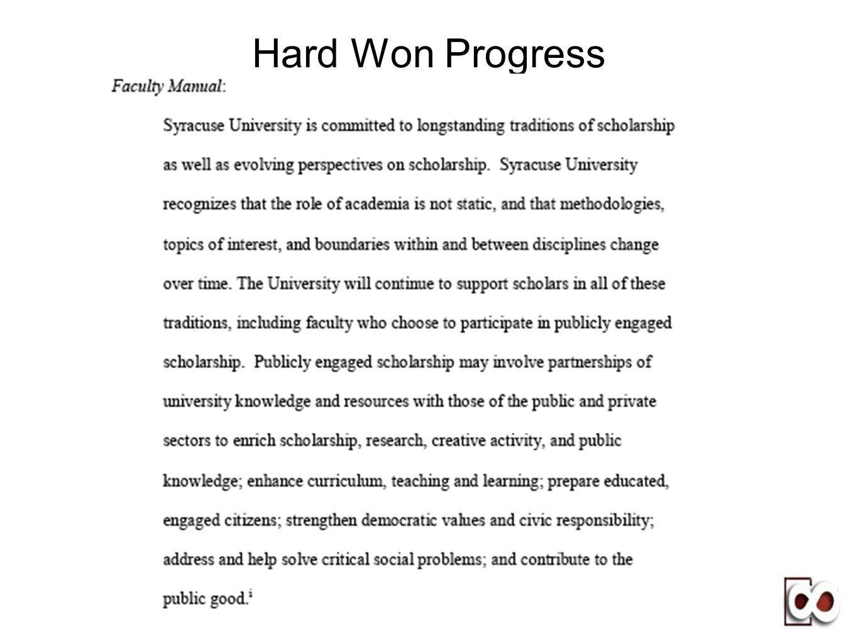Hard Won Progress