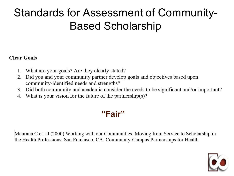 Standards for Assessment of Community- Based Scholarship Fair