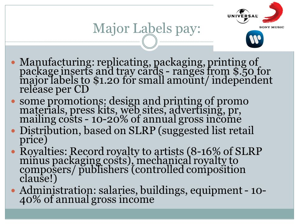 Major Labels pay: Manufacturing: replicating, packaging, printing of package inserts and tray cards - ranges from $.50 for major labels to $1.20 for small amount/ independent release per CD some promotions: design and printing of promo materials, press kits, web sites, advertising, pr, mailing costs - 10-20% of annual gross income Distribution, based on SLRP (suggested list retail price) Royalties: Record royalty to artists (8-16% of SLRP minus packaging costs), mechanical royalty to composers/ publishers (controlled composition clause!) Administration: salaries, buildings, equipment - 10- 40% of annual gross income