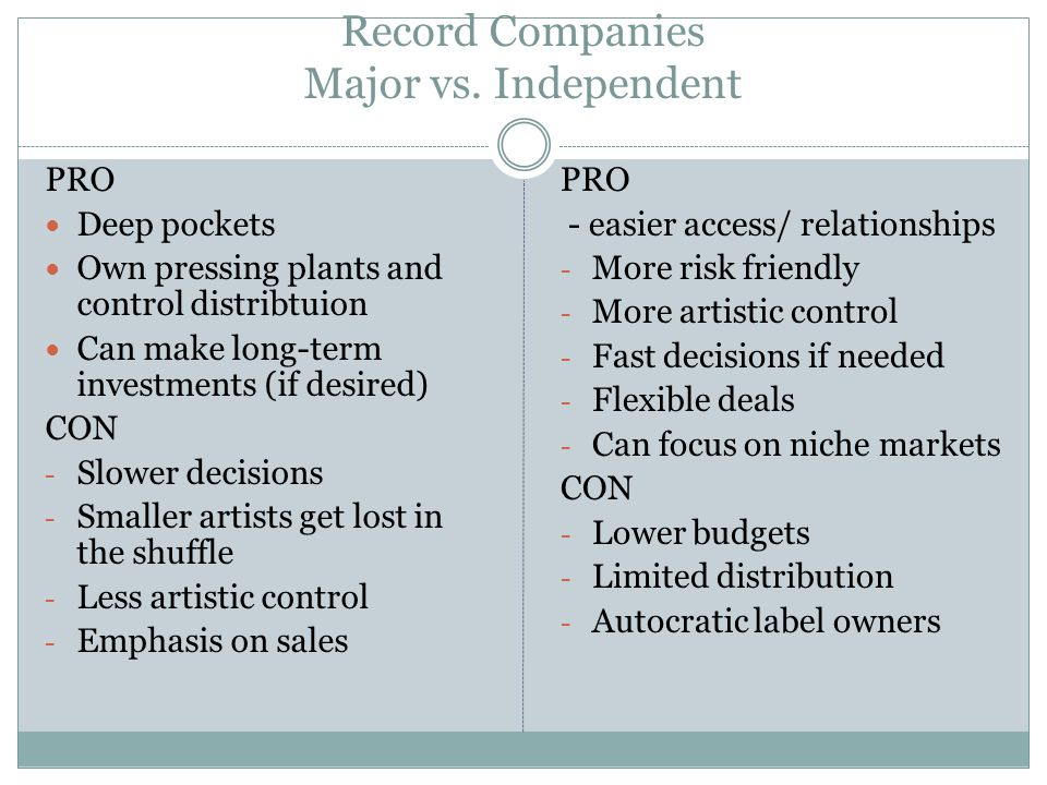 Record Companies Major vs.