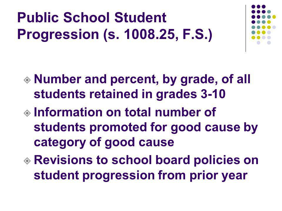 Public School Student Progression (s. 1008.25, F.S.) Number and percent, by grade, of all students retained in grades 3-10 Information on total number