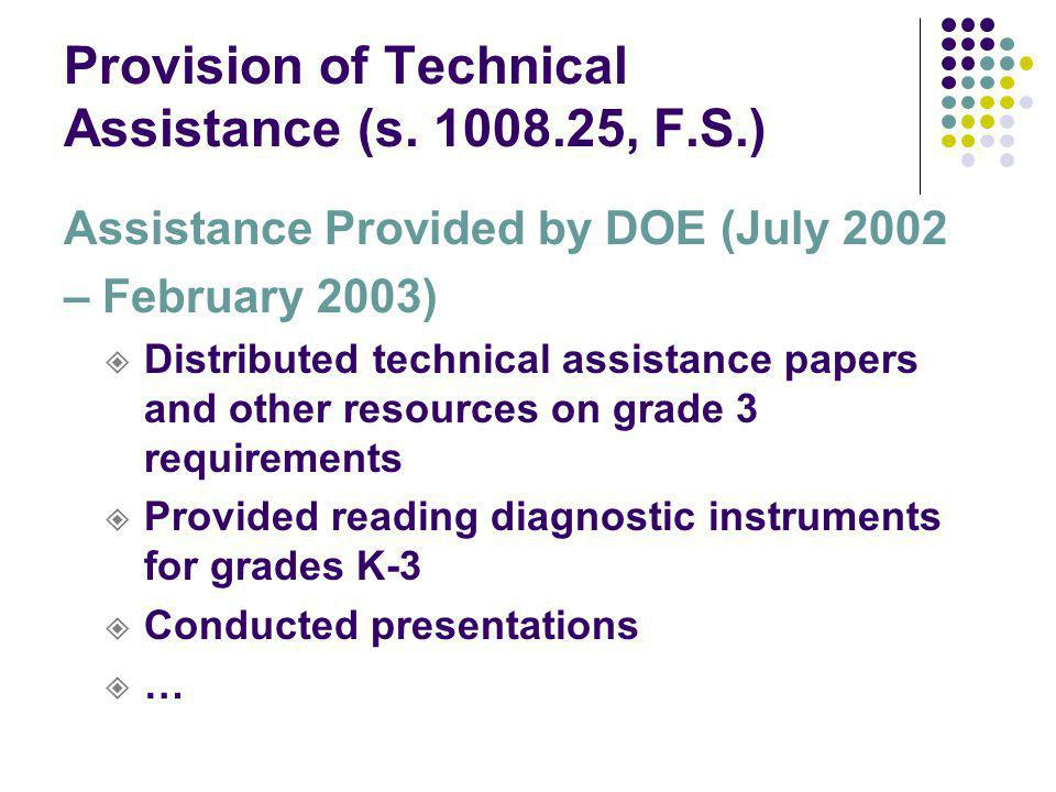 Provision of Technical Assistance (s.
