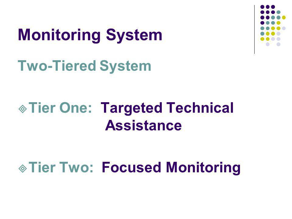 Monitoring System Two-Tiered System Tier One: Targeted Technical Assistance Tier Two: Focused Monitoring