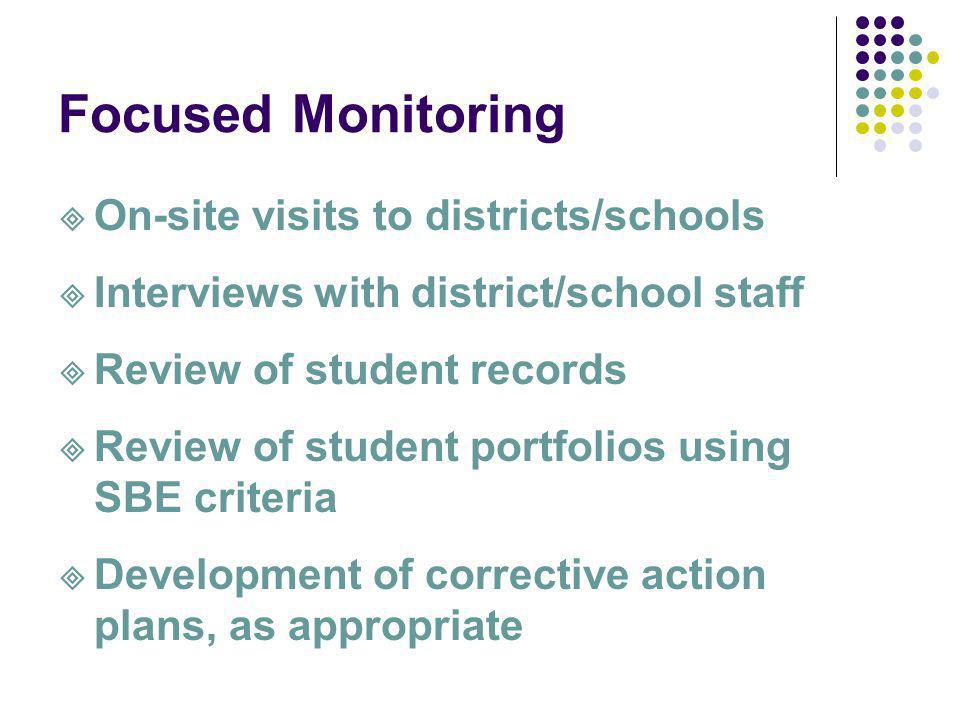 Focused Monitoring On-site visits to districts/schools Interviews with district/school staff Review of student records Review of student portfolios using SBE criteria Development of corrective action plans, as appropriate