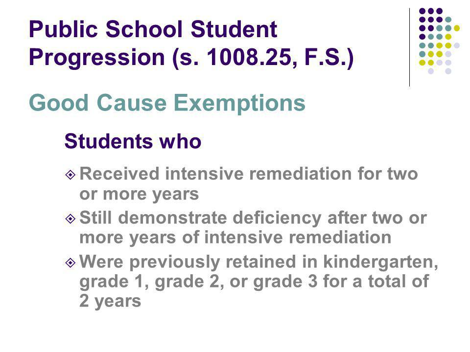 Public School Student Progression (s. 1008.25, F.S.) Good Cause Exemptions Students who Received intensive remediation for two or more years Still dem
