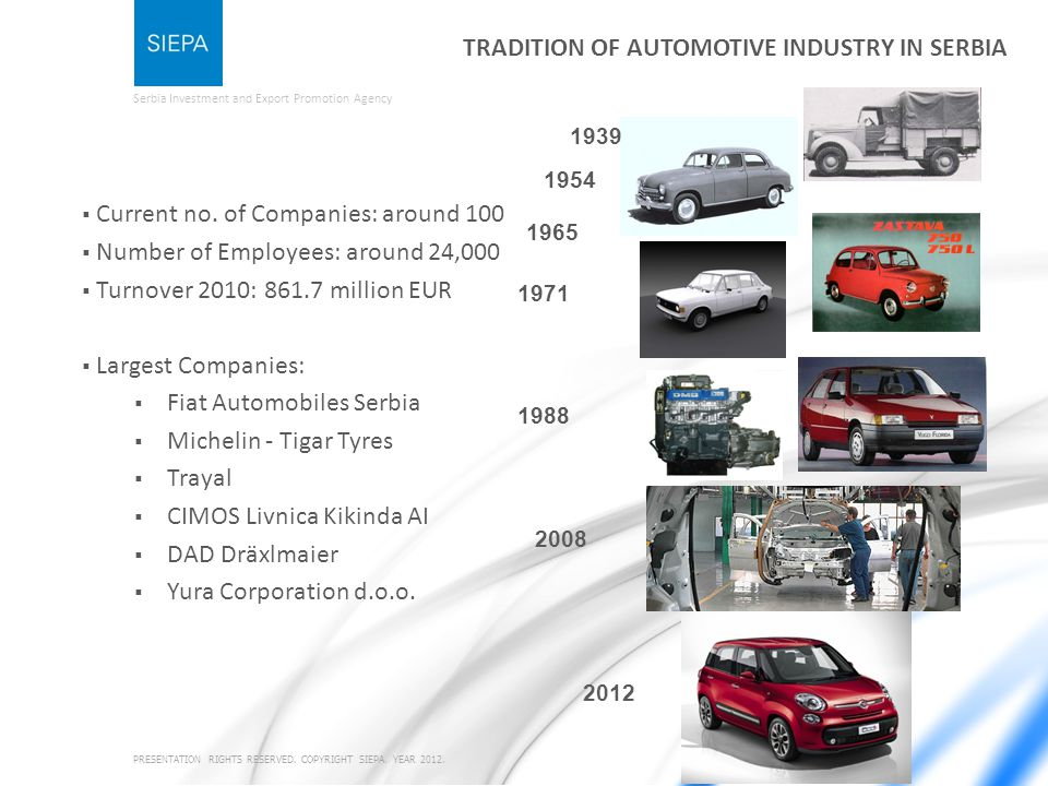 Serbia Investment and Export Promotion Agency TRADITION OF AUTOMOTIVE INDUSTRY IN SERBIA Current no.
