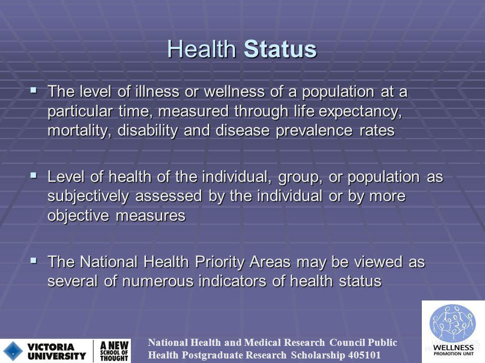 Health Status The level of illness or wellness of a population at a particular time, measured through life expectancy, mortality, disability and disease prevalence rates The level of illness or wellness of a population at a particular time, measured through life expectancy, mortality, disability and disease prevalence rates Level of health of the individual, group, or population as subjectively assessed by the individual or by more objective measures Level of health of the individual, group, or population as subjectively assessed by the individual or by more objective measures The National Health Priority Areas may be viewed as several of numerous indicators of health status The National Health Priority Areas may be viewed as several of numerous indicators of health status National Health and Medical Research Council Public Health Postgraduate Research Scholarship 405101