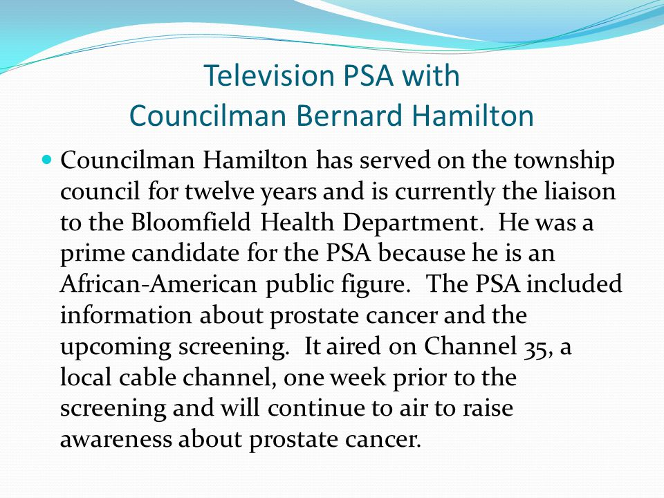 Television PSA with Councilman Bernard Hamilton Councilman Hamilton has served on the township council for twelve years and is currently the liaison t