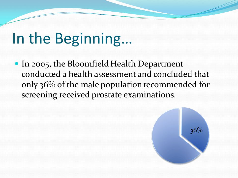 In the Beginning… In 2005, the Bloomfield Health Department conducted a health assessment and concluded that only 36% of the male population recommend