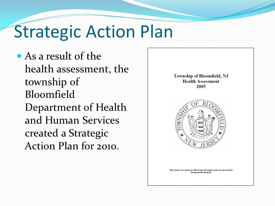 Strategic Action Plan As a result of the health assessment, the township of Bloomfield Department of Health and Human Services created a Strategic Act