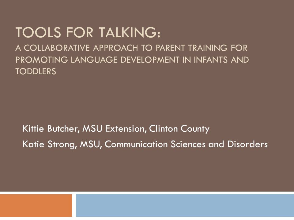 Goals of Talk Tools Workshop Parent Participants Increase knowledge and value of daily interactions with their child and the impact on language development; language is a turn taking activity that can be embedded in daily routines.
