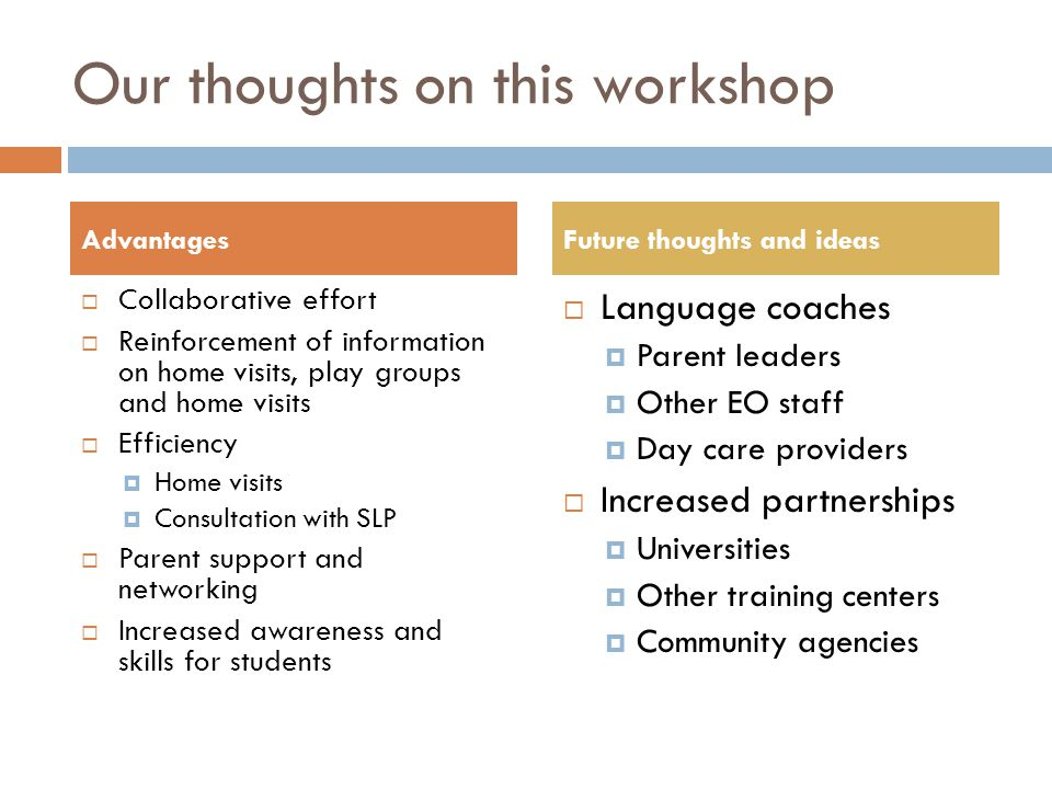 Our thoughts on this workshop Collaborative effort Reinforcement of information on home visits, play groups and home visits Efficiency Home visits Con