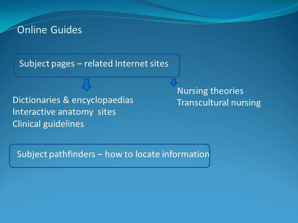 Online Guides Subject pages – related Internet sites Subject pathfinders – how to locate information Dictionaries & encyclopaedias Interactive anatomy