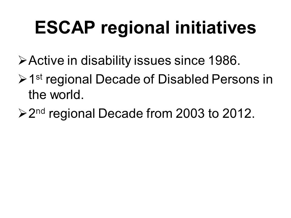 2 nd regional Decade from 2003 to 2012 Biwako Millennium Framework for Action towards an Inclusive, Barrier-free and Rights-based Society in Asia and the Pacific (BMF) serves as the regional policy guideline.