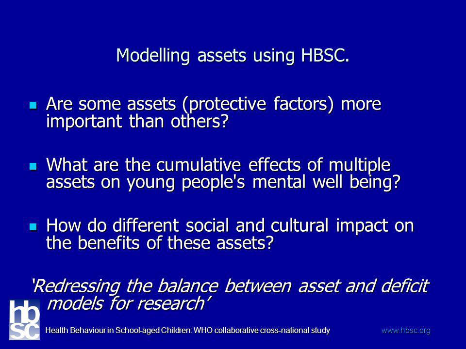 Health Behaviour in School-aged Children: WHO collaborative cross-national study www.hbsc.org Modelling assets using HBSC. Are some assets (protective