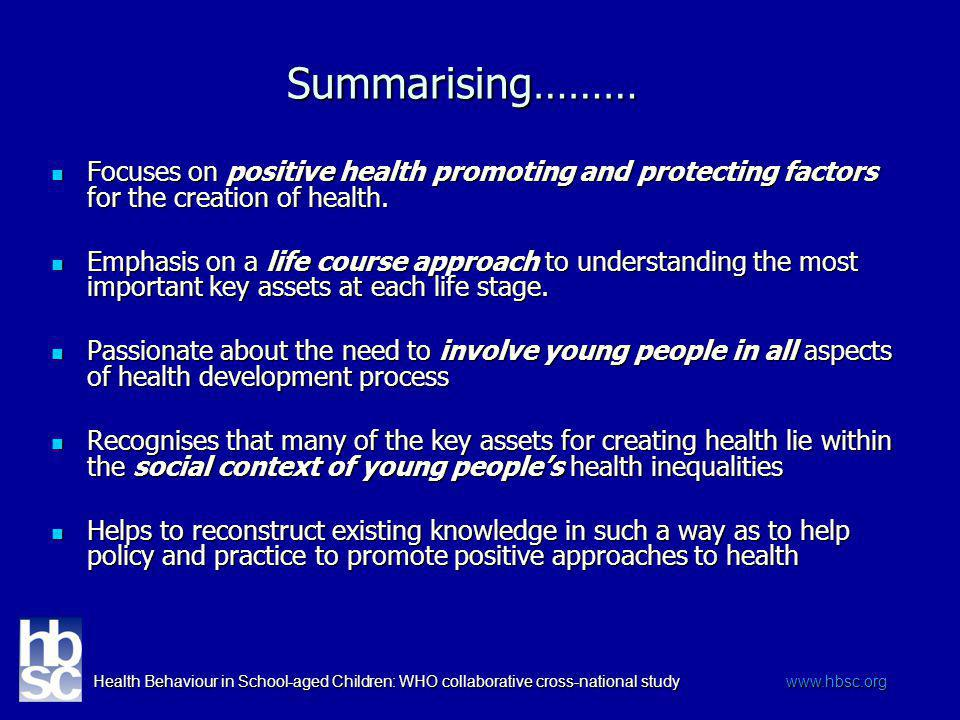 Health Behaviour in School-aged Children: WHO collaborative cross-national study www.hbsc.org Summarising……… Focuses on positive health promoting and