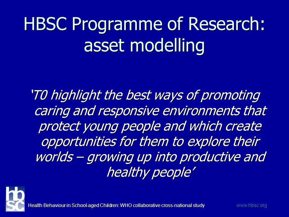 Health Behaviour in School-aged Children: WHO collaborative cross-national study www.hbsc.org HBSC Programme of Research: asset modelling T0 highlight