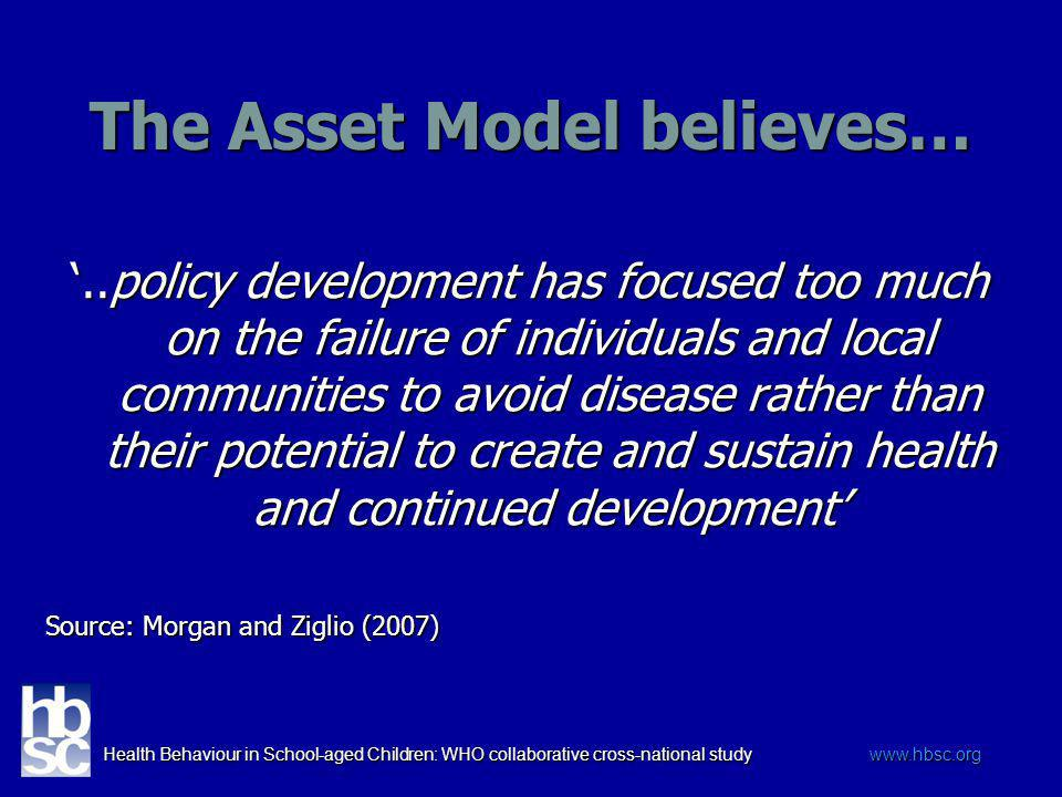 Health Behaviour in School-aged Children: WHO collaborative cross-national study www.hbsc.org The Asset Model believes…..policy development has focuse