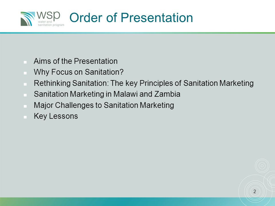 2 Order of Presentation n Aims of the Presentation n Why Focus on Sanitation.