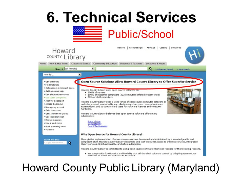 6. Technical Services Public/School Howard County Public Library (Maryland)