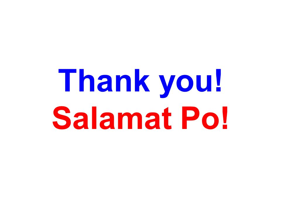 Thank you! Salamat Po!