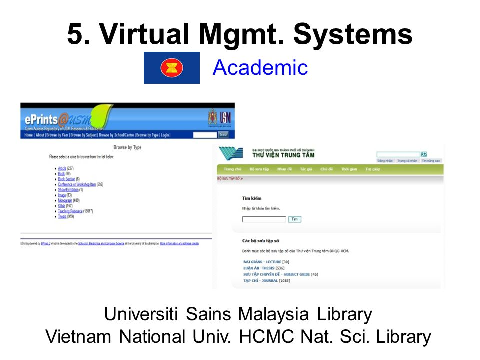 5. Virtual Mgmt. Systems Academic Universiti Sains Malaysia Library Vietnam National Univ.