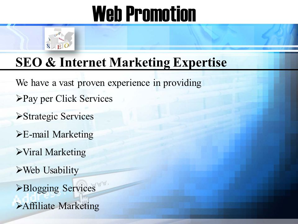 Web Promotion SEO & Internet Marketing Expertise We have a vast proven experience in providing Pay per Click Services Strategic Services E-mail Marketing Viral Marketing Web Usability Blogging Services Affiliate Marketing