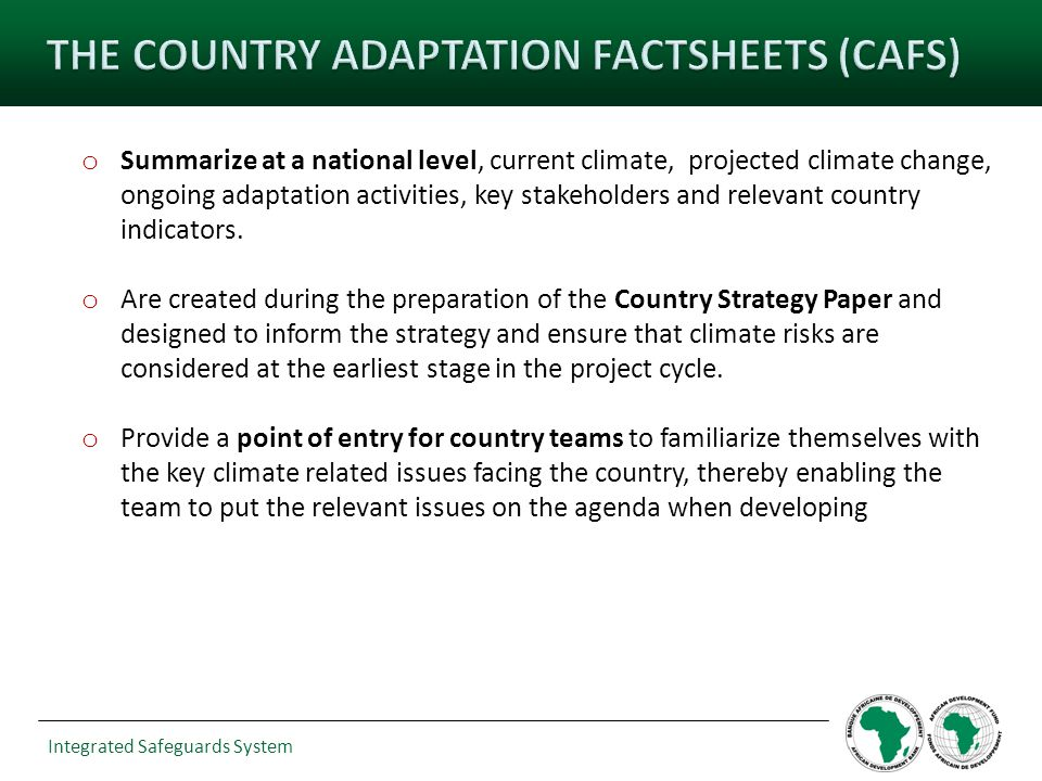 o Summarize at a national level, current climate, projected climate change, ongoing adaptation activities, key stakeholders and relevant country indic