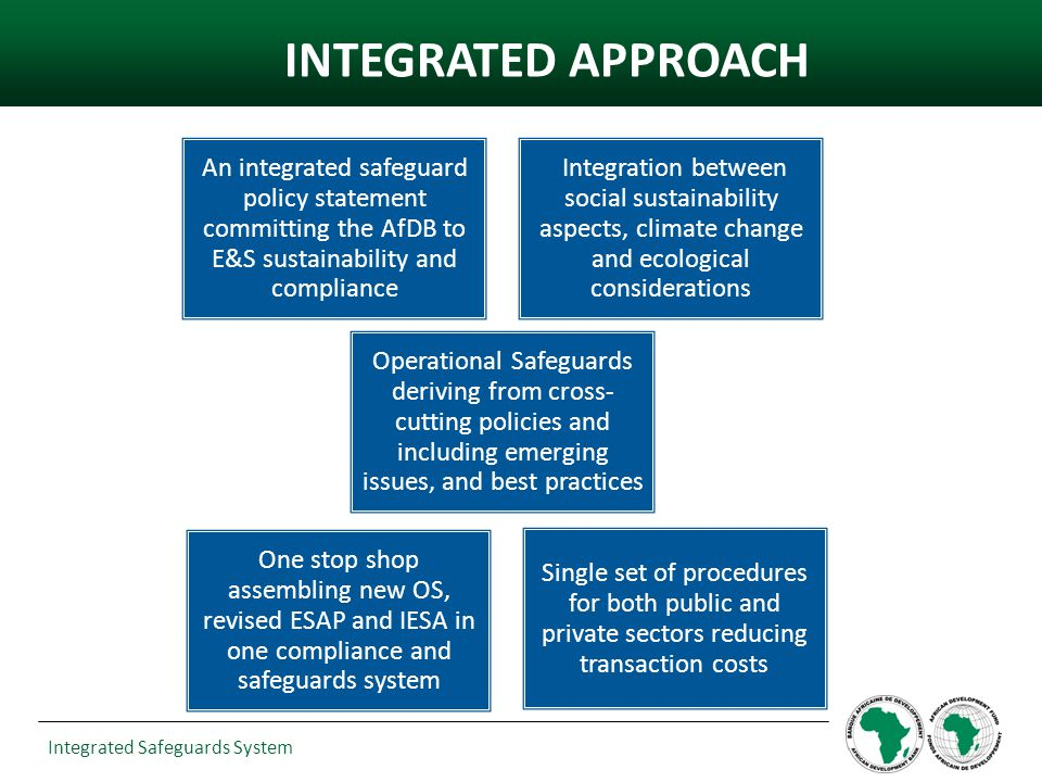 Integrated Safeguards System Land and Water- Resources Management Innovative agriculture & water management practices Increased resources for marine water and river basin management projects Knowledge Generation/ Competency Building Infrastructure and Urban systems Increased no.
