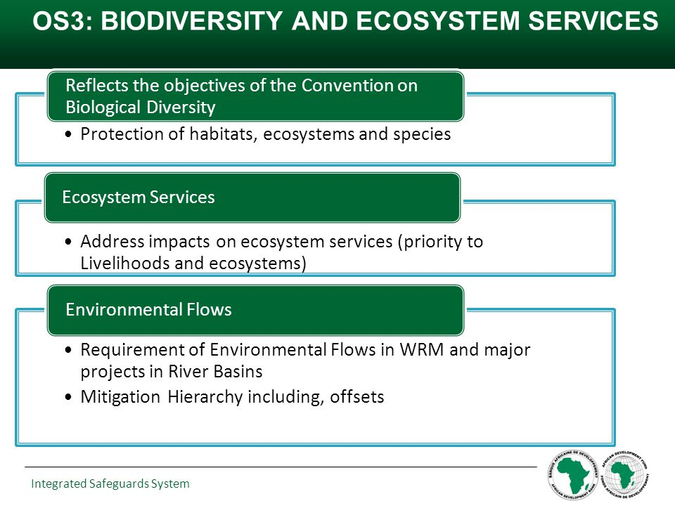 Integrated Safeguards System OS3: BIODIVERSITY AND ECOSYSTEM SERVICES Protection of habitats, ecosystems and species Reflects the objectives of the Co